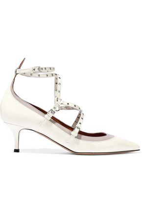 VALENTINO GARAVANI Embellished two-tone patent-leather pumps