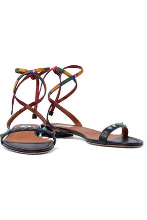 VALENTINO GARAVANI Lace-up studded embroidered leather sandals