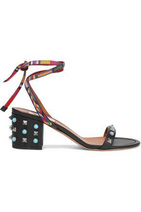 VALENTINO | Valentino Garavani Rockstud Rolling Embroidered Leather Sandals | Goxip