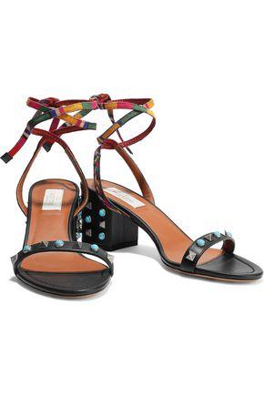 VALENTINO GARAVANI Rockstud Rolling embroidered leather sandals