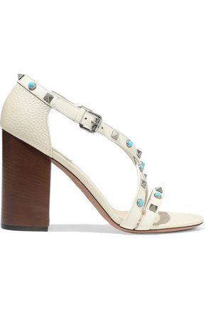 VALENTINO GARAVANI Embellished textured-leather sandals