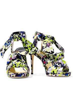 JIMMY CHOO Kris knotted printed satin sandals