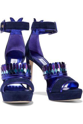 b634e1d69fb1 JIMMY CHOO Kathleen metallic leather-trimmed suede platform sandals