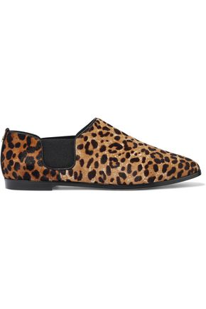 JIMMY CHOO Leopard-print calf hair brogues