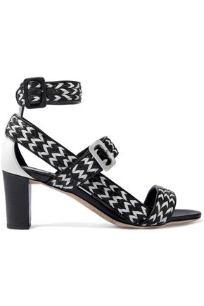 JIMMY CHOO Maya 65 two-tone woven leather sandals