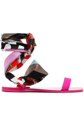 EMILIO PUCCI Lace-up printed silk-twill and leather sandals