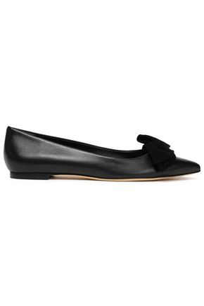 TORY BURCH Bow-detailed leather point-toe flats
