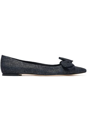 TORY BURCH Bow-embellished printed suede point-toe flats