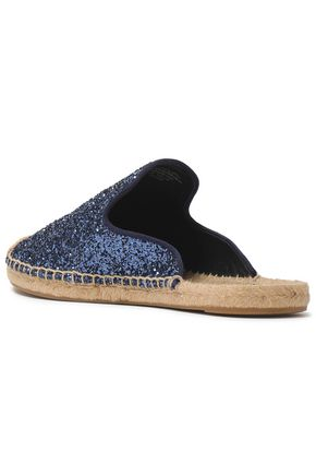 TORY BURCH Glittered leather espadrille slippers