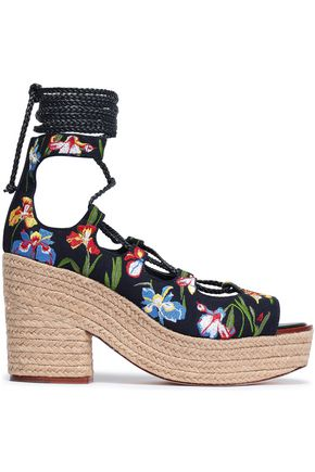 26b007c7f TORY BURCH Embroidered canvas platform espadrille sandals