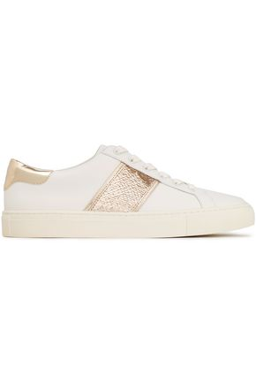 TORY BURCH Sequin-embellished leather sneakers
