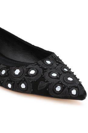 TORY BURCH Embellished embroidered suede point-toe flats