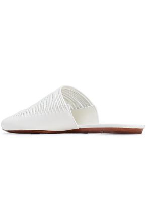 TORY BURCH Cutout leather slippers