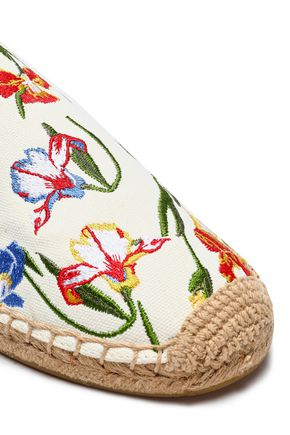 TORY BURCH Embroidered canvas espadrille slippers