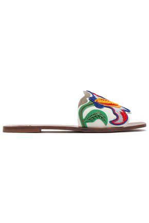 TORY BURCH Appliquéd leather slides