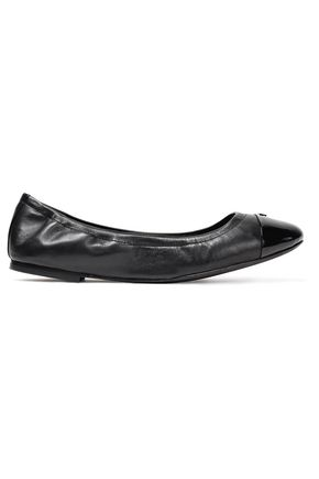 TORY BURCH Patent and smooth leather ballet flats