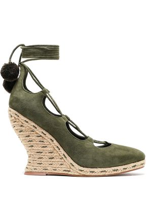 TORY BURCH Pompom-embellished lace-up suede wedge espadrilles
