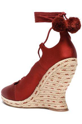TORY BURCH Pompom-embellished lace-up satin wedge espadrilles