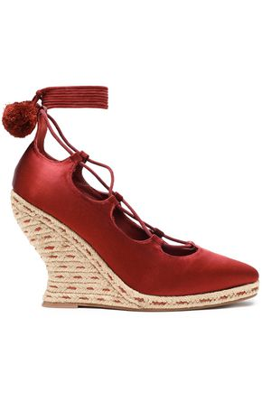 TORY BURCH Pompom-embellished lace-up satin wedge espadrilles