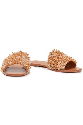 TORY BURCH Embellished satin slides