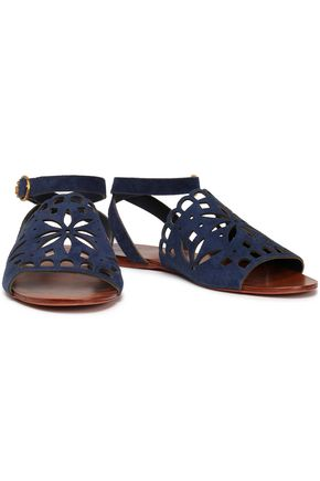 TORY BURCH Laser-cut suede sandals