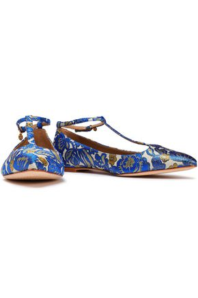 TORY BURCH Brocade point-toe flats
