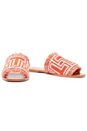 TORY BURCH Fringe-trimmed cotton-terry slides
