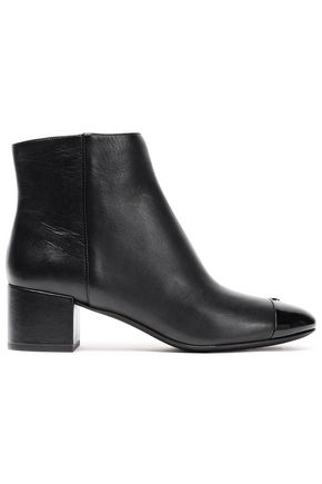 TORY BURCH Patent and smooth leather ankle boots