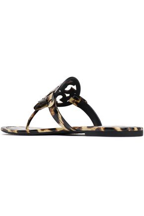 TORY BURCH Printed patent-leather sandals
