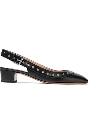 VALENTINO GARAVANI Eyelet-embellished leather slingback pumps