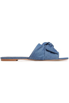 TORY BURCH Bow-embellished denim slides