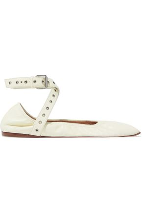 VALENTINO GARAVANI Eyelet-embellished leather point-toe flats