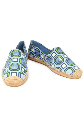 TORY BURCH Sequin-embellished printed canvas espadrilles