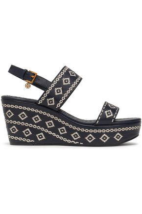 d3b23c549789e TORY BURCH Embroidered leather wedge sandals