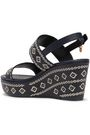 TORY BURCH Embroidered leather wedge sandals