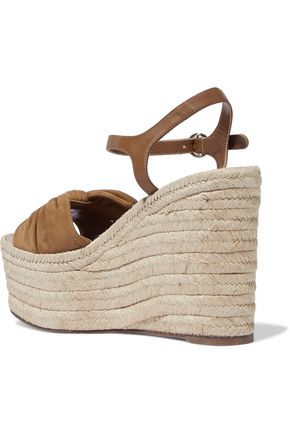 7e5791249ab Knotted suede and leather wedge espadrille sandals | VALENTINO ...