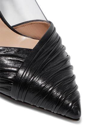 VALENTINO GARAVANI Ruched leather and PVC pumps