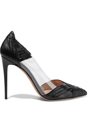 VALENTINO GARAVANI Ruched leather and PVC pumps