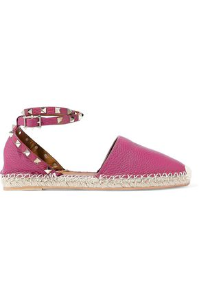 VALENTINO GARAVANI Rockstud Double pebbled-leather espadrilles