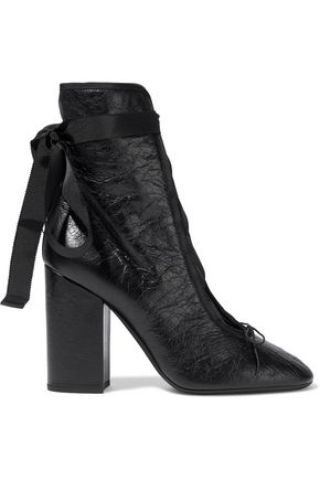 VALENTINO GARAVANI Grosgrain-trimmed cracked-leather ankle boots