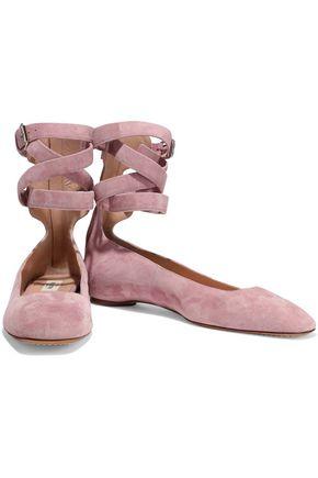 VALENTINO GARAVANI Lace-up suede ballet flats