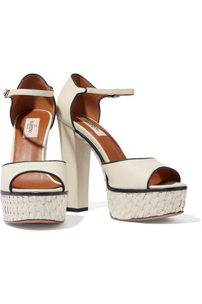VALENTINO GARAVANI Woven leather platform sandals