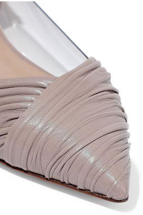VALENTINO GARAVANI PVC-paneled leather point-toe flats