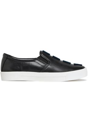 DKNY Flocked faux leather slip-on sneakers