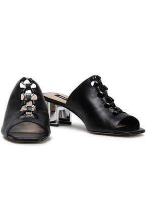 DKNY Eyelet-embellished leather mules