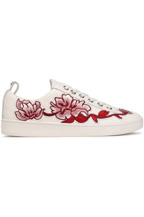 DKNY Embroidered leather sneakers
