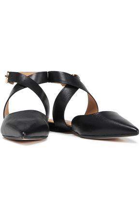 MAJE Leather point-toe flats