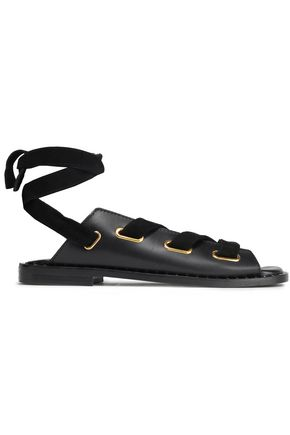 MAJE Velvet-trimmed lace-up leather sandals