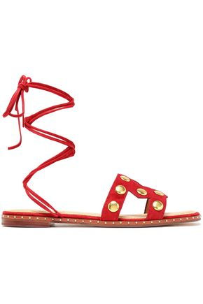 MAJE Fiou cutout studded suede sandals