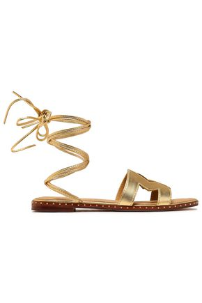 MAJE Fio cutout metallic leather sandals